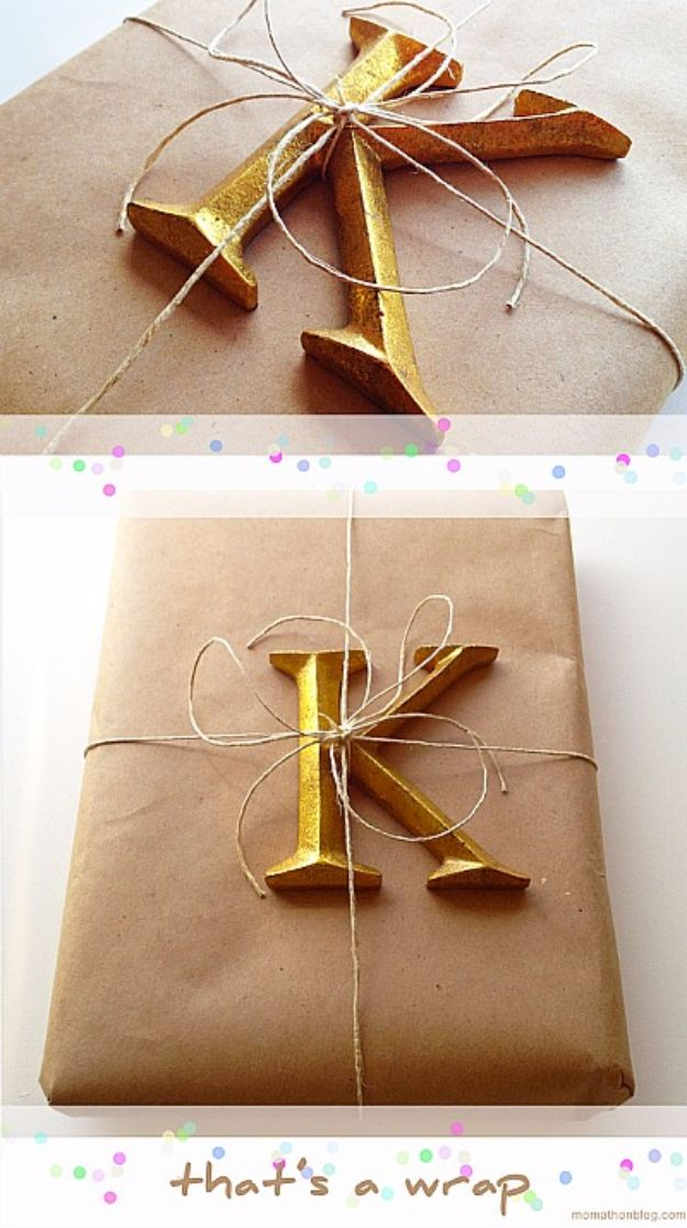 Cool Gift Wrapping Ideas - Decorative Letter - Creative Ways To Wrap Presents on A Budget - Best Christmas Gift Wrap Ideas - How To Make Gift Bags, Reuse Wrapping Paper, Make Bows and Tags - Cute and Easy Ideas for Wrapping Gifts for the Holidays - Step by Step Instructions and Photo Tutorials http://diyjoy.com/gift-wrapping-tutorials