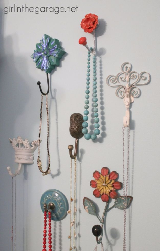DIY Jewelry Ideas - Decorative Wall Hooks As Jewelry Storage - How To Make the Coolest Jewelry Ideas For Kids and Teens - Homemade Wooden and Plastic Jewelry Box Plans - Easy Cardboard Gift Ideas - Cheap Wall Makeover and Organizer Projects With Drawers Men http://diyjoy.com/diy-jewelry-boxes-storage