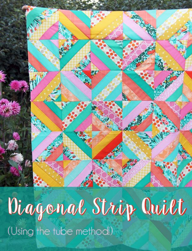 Best Quilts to Make This Weekend - Diagonal Strip Quilt - Free Quilt Patterns and Quilting Tutorials - Quilting for Beginners and Sewing Ideas - DIY Baby Quilts, Printables, New and Easy Modern Quilts, Jelly Roll, Quilt Squares, Fat Quarters and Scrap Ideas #diy #quilting #sewing