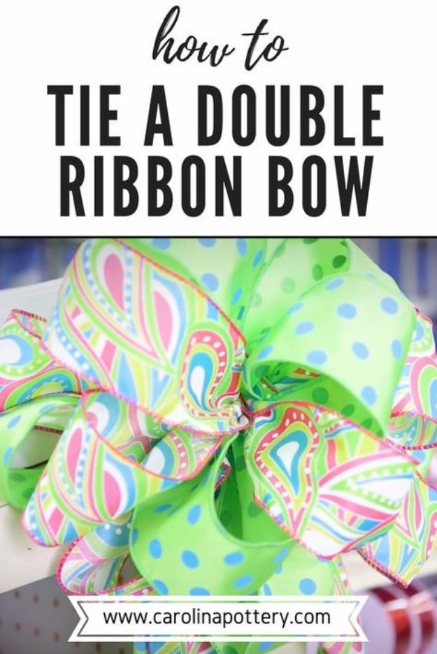 Creative Bows For Packages - Double Ribbon Bow - Make DIY Bows for Christmas Presents and Holiday Gifts - Cute and Easy Ideas for Making Your Own Bows and Ribbons - Step by Step Tutorials and Instructions for Tying A Bow - Cheap and Crafty Gift Wrapping Ideas on A Budget http://diyjoy.com/diy-bows-gifts-packages