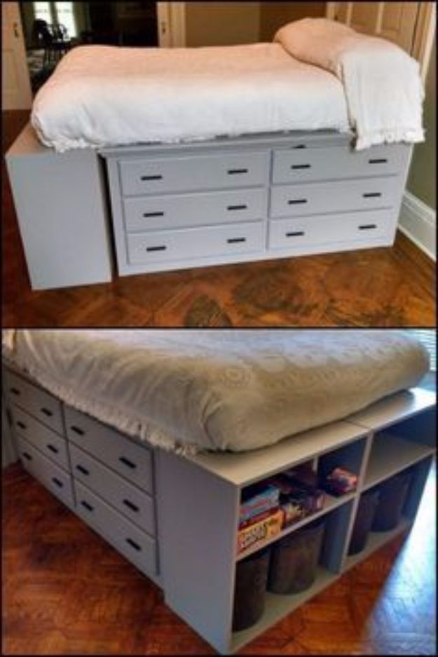 DIY Platform Beds - Dresser Platform Bed - Easy Do It Yourself Bed Projects - Step by Step Tutorials for Bedroom Furniture - Learn How To Make Twin, Full, King and Queen Size Platforms - With Headboard, Storage, Drawers, Made from Pallets - Cheap Ideas You Can Make on a Budget http://diyjoy.com/diy-platform-beds