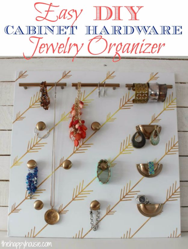 DIY Jewelry Ideas - Easy DIY Cabinet Hardware Jewelry Storage - How To Make the Coolest Jewelry Ideas For Kids and Teens - Homemade Wooden and Plastic Jewelry Box Plans - Easy Cardboard Gift Ideas - Cheap Wall Makeover and Organizer Projects With Drawers Men http://diyjoy.com/diy-jewelry-boxes-storage