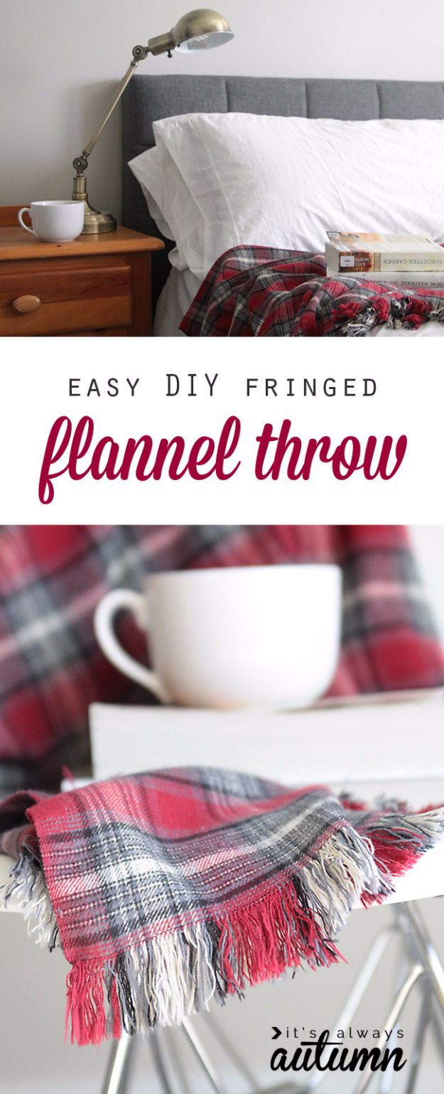 Cheap DIY Gifts and Inexpensive Homemade Christmas Gift Ideas for People on A Budget - Easy DIY Fringed Flannel Throw - To Make These Cool Presents Instead of Buying for the Holidays - Easy and Low Cost Gifts for Mom, Dad, Friends and Family - Quick Dollar Store Crafts and Projects for Xmas Gift Giving #gifts #diy