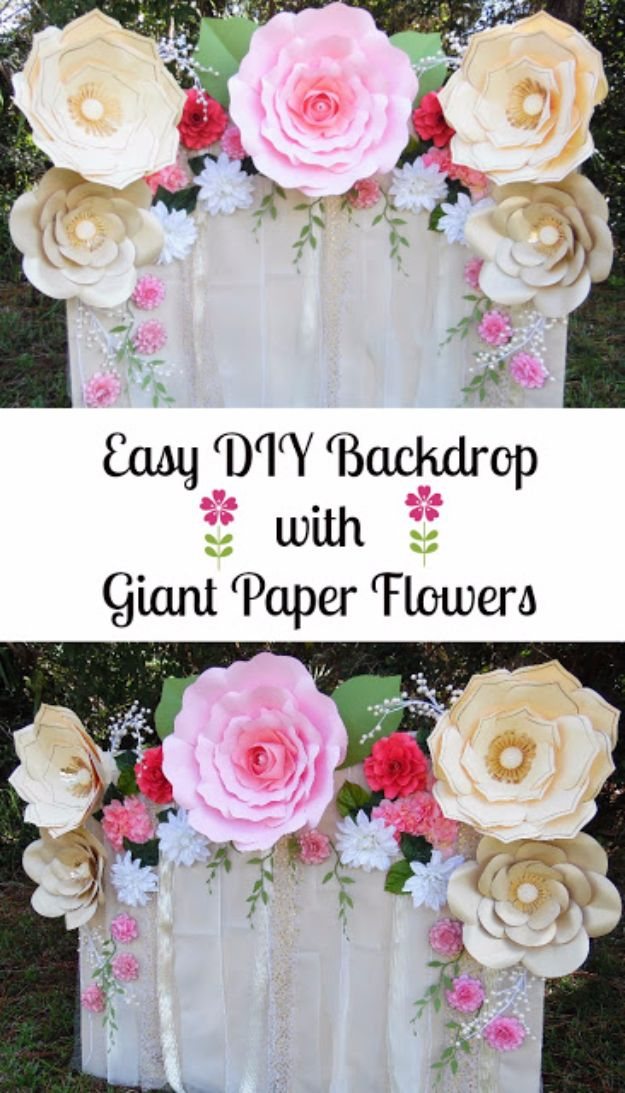 DIY Paper Flowers - Easy Paper Flower Backdrop Assembly - How To Make A Paper Flower - Large Wedding Backdrop for Wall Decor - Easy Tissue Paper Flower Tutorial for Kids - Giant Projects for Photo Backdrops - Daisy, Roses, Bouquets, Centerpieces - Cricut Template and Step by Step Tutorial http://diyjoy.com/diy-paper-flowers