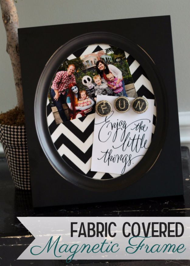 Last Minute Christmas Gifts - Fabric Covered Magnetic Frame - Quick DIY Gift Ideas and Easy Christmas Presents To Make for Mom, Dad, Family and Friends - Dollar Store Crafts and Cheap Homemade Gifts, Mason Jar Ideas for Gifts in A Jar, Cute and Creative Things To Make In A Hurry http://diyjoy.com/last-minute-gift-ideas-christmas