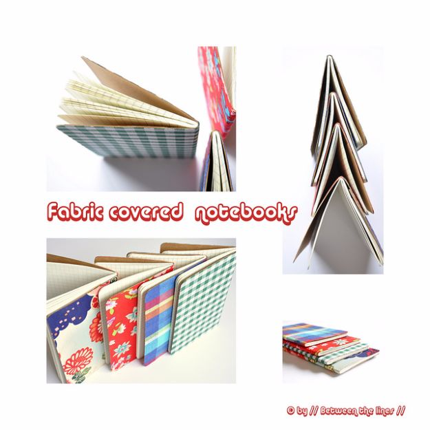 Cheap DIY Gifts and Inexpensive Homemade Christmas Gift Ideas for People on A Budget - Fabric Covered Notebooks - To Make These Cool Presents Instead of Buying for the Holidays - Easy and Low Cost Gifts for Mom, Dad, Friends and Family - Quick Dollar Store Crafts and Projects for Xmas Gift Giving #gifts #diy