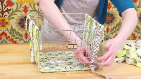 Watch How She Simply Weaves Fabric Strips On A Wire Basket Changing Up Her Decor! | DIY Joy Projects and Crafts Ideas