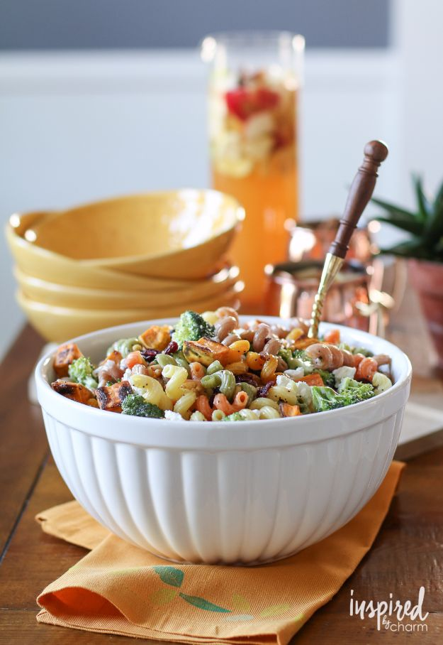 Best Fall Recipes and Ideas for Dinner - Fall Harvest Pasta Salad - Quick Meals With Chicken, Beef and Fish, Easy Crockpot Meals and Make Ahead Soups and Dinners - Healthy Dinner Recipes and Fast Last Minute Foods With Spinach, Vegetables, Butternut Squash, Pumpkin and Nuts