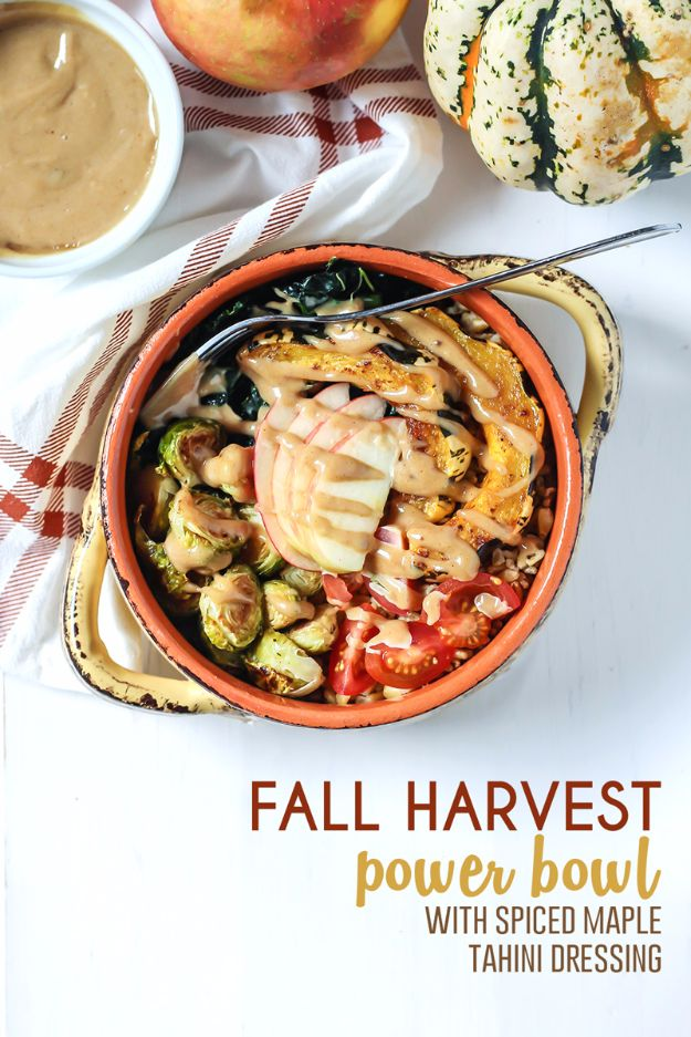 Best Fall Recipes and Ideas for Dinner - Fall Harvest Power Bowl With Spiced Maple Tahini Dressing - Quick Meals With Chicken, Beef and Fish, Easy Crockpot Meals and Make Ahead Soups and Dinners - Healthy Dinner Recipes and Fast Last Minute Foods With Spinach, Vegetables, Butternut Squash, Pumpkin and Nuts