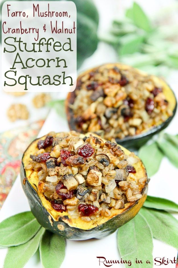 Healthy Thanksgiving Recipes - Farro, Mushroom, Cranberry & Walnut Stuffed Acorn Squash - Low fat Versions of Your Favorite Holiday Recipe for Turkey, Stuffing, Gravy, Pie and Desserts, Appetizers, Vegetables and Side Dishes like Spinach, Broccoli, Cranberries, Mashed Potatoes, Sweet Potatoes and Green Beans - Easy and Quick Last Minute Thanksgiving Recipes for Low Carb, Low Fat and Clean Eating Diets http://diyjoy.com/healthy-thanksgiving-recipes