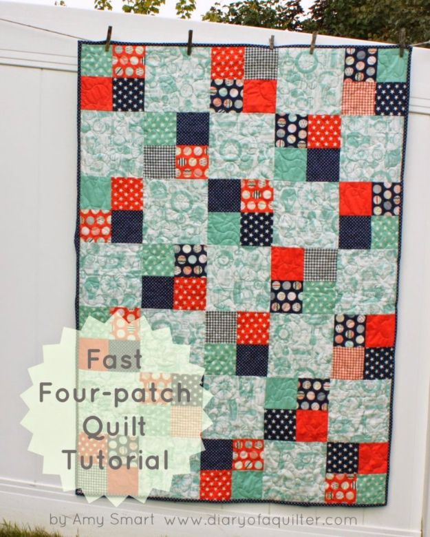 Best Quilts to Make This Weekend - Fast Four-Patch Quilt - Free Quilt Patterns and Quilting Tutorials - Quilting for Beginners and Sewing Ideas - DIY Baby Quilts, Printables, New and Easy Modern Quilts, Jelly Roll, Quilt Squares, Fat Quarters and Scrap Ideas #diy #quilting #sewing