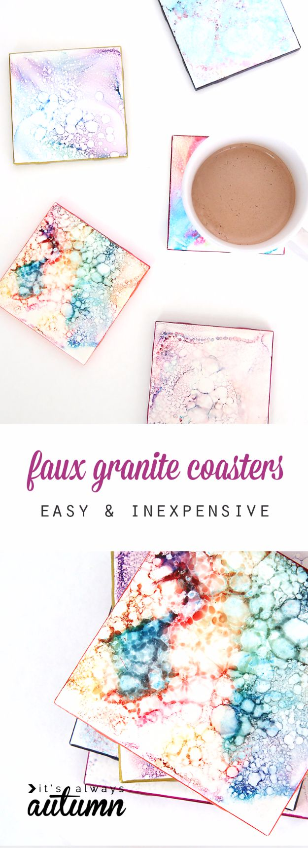 Cheap DIY Gifts and Inexpensive Homemade Christmas Gift Ideas for People on A Budget - Faux Granite Coasters - To Make These Cool Presents Instead of Buying for the Holidays - Easy and Low Cost Gifts for Mom, Dad, Friends and Family - Quick Dollar Store Crafts and Projects for Xmas Gift Giving #gifts #diy