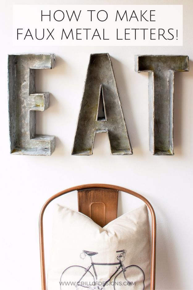 DIY Ideas With Cardboard - Faux Metal Letters From Cardboard - How To Make Room Decor Crafts for Kids - Easy and Crafty Storage Ideas For Room - Toilet Paper Roll Projects Tutorials - Fun Furniture Ideas with Cardboard - Cheap, Quick and Easy Wall Decorations #diyideas #cardboardcrafts #crafts