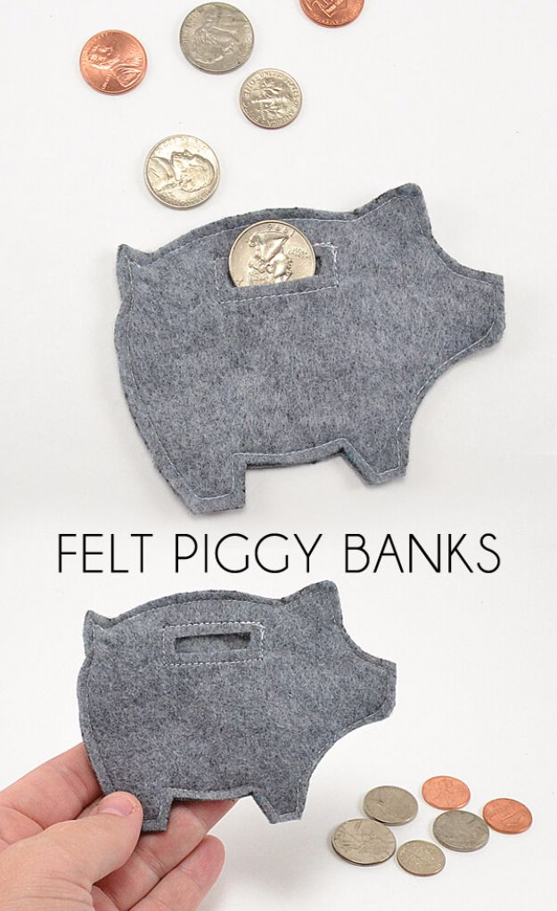Cheap DIY Gifts and Inexpensive Homemade Christmas Gift Ideas for People on A Budget - Felt Piggy Banks - To Make These Cool Presents Instead of Buying for the Holidays - Easy and Low Cost Gifts for Mom, Dad, Friends and Family - Quick Dollar Store Crafts and Projects for Xmas Gift Giving #gifts #diy