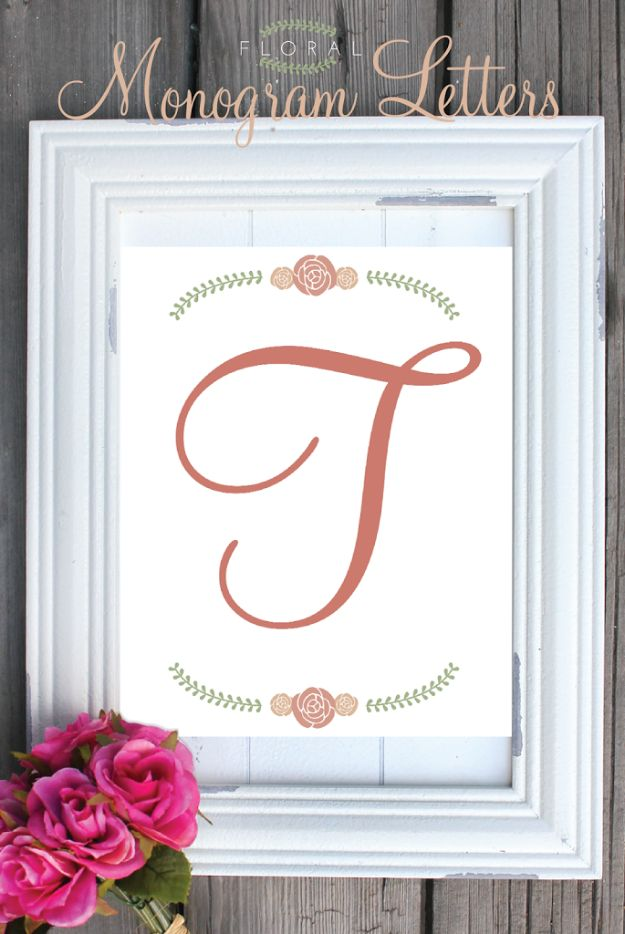 Last Minute Christmas Gifts - Floral Monogram Letters - Quick DIY Gift Ideas and Easy Christmas Presents To Make for Mom, Dad, Family and Friends - Dollar Store Crafts and Cheap Homemade Gifts