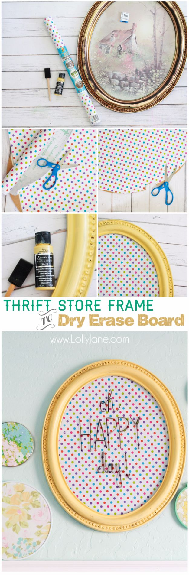 Thrift Store Crafts for Budget Friendly Low Cost DIY Christmas Gifts - Dollar Store Ideas for Gifts for Friends - Framed Polka Dot Dry Erase Board