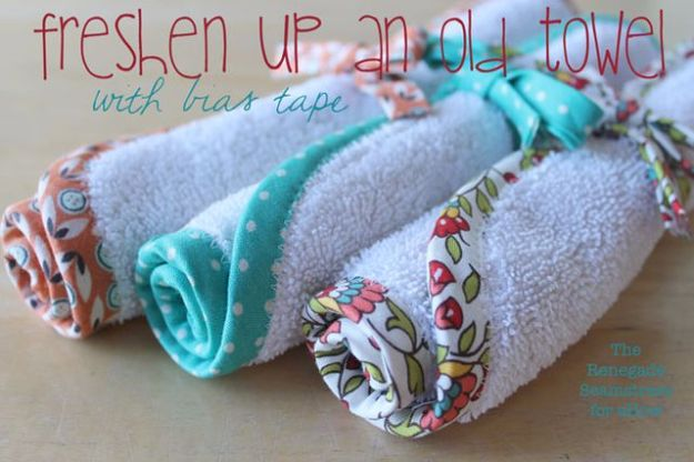 DIY Ideas With Old Towels - Freshen Up Old Towel With Bias Tape - Cool Crafts To Make With An Old Towel - Cheap Do It Yourself Gifts and Home Decor on A Budget - Creative But Cheap Ideas for Decorating Your House and Room - Upcycle Those Towels Instead of Throwing Them Away! http://diyjoy.com/diy-ideas-old-towels