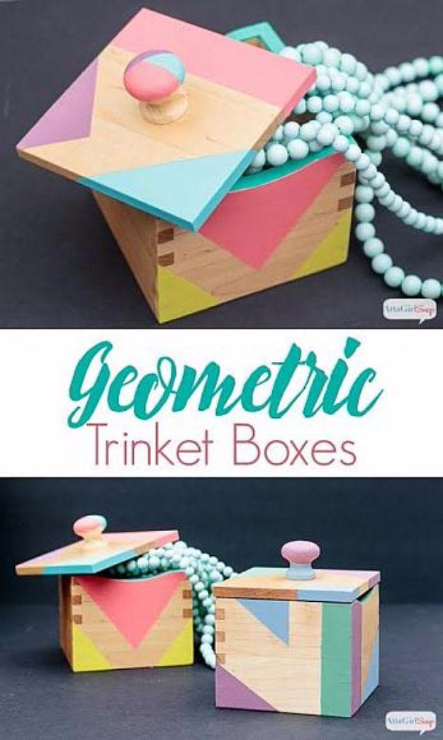 DIY Jewelry Ideas - Geometric Trinket Boxes - How To Make the Coolest Jewelry Ideas For Kids and Teens - Homemade Wooden and Plastic Jewelry Box Plans - Easy Cardboard Gift Ideas - Cheap Wall Makeover and Organizer Projects With Drawers Men http://diyjoy.com/diy-jewelry-boxes-storage