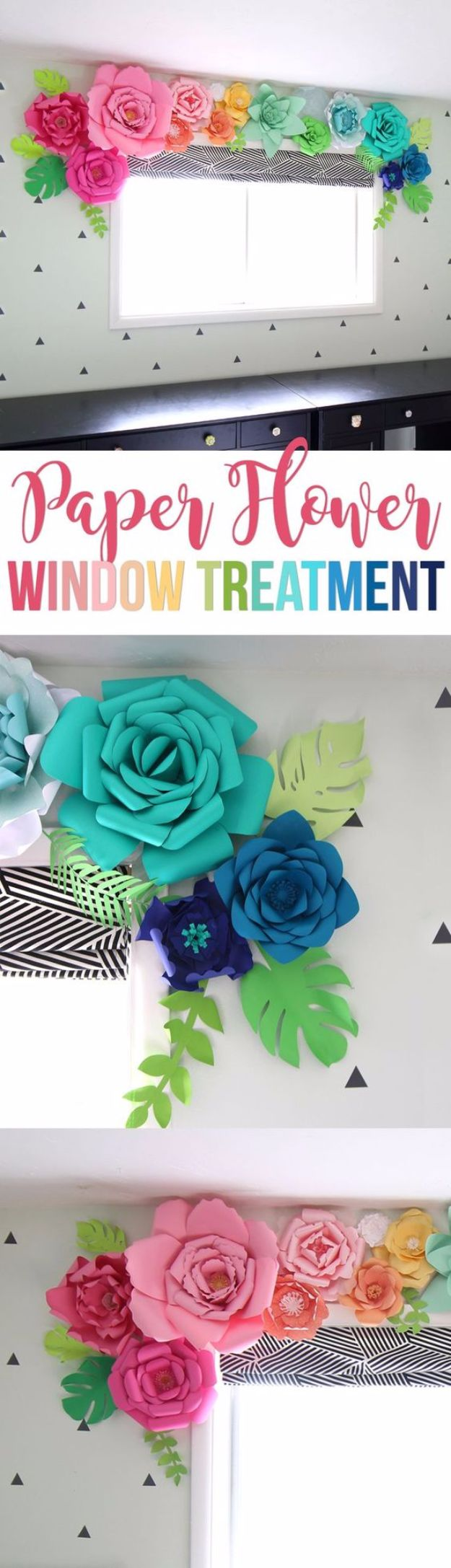 DIY Paper Flowers - Giant Paper Flower Window Treatment - How To Make A Paper Flower - Large Wedding Backdrop for Wall Decor - Easy Tissue Paper Flower Tutorial for Kids - Giant Projects for Photo Backdrops - Daisy, Roses, Bouquets, Centerpieces - Cricut Template and Step by Step Tutorial http://diyjoy.com/diy-paper-flowers