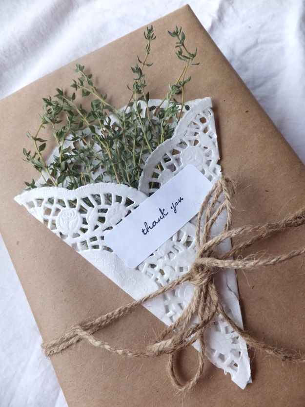 Cool Gift Wrapping Ideas - Gift Wrapping With herbs And Doilies - Creative Ways To Wrap Presents on A Budget - Best Christmas Gift Wrap Ideas - How To Make Gift Bags, Reuse Wrapping Paper, Make Bows and Tags - Cute and Easy Ideas for Wrapping Gifts for the Holidays - Step by Step Instructions and Photo Tutorials