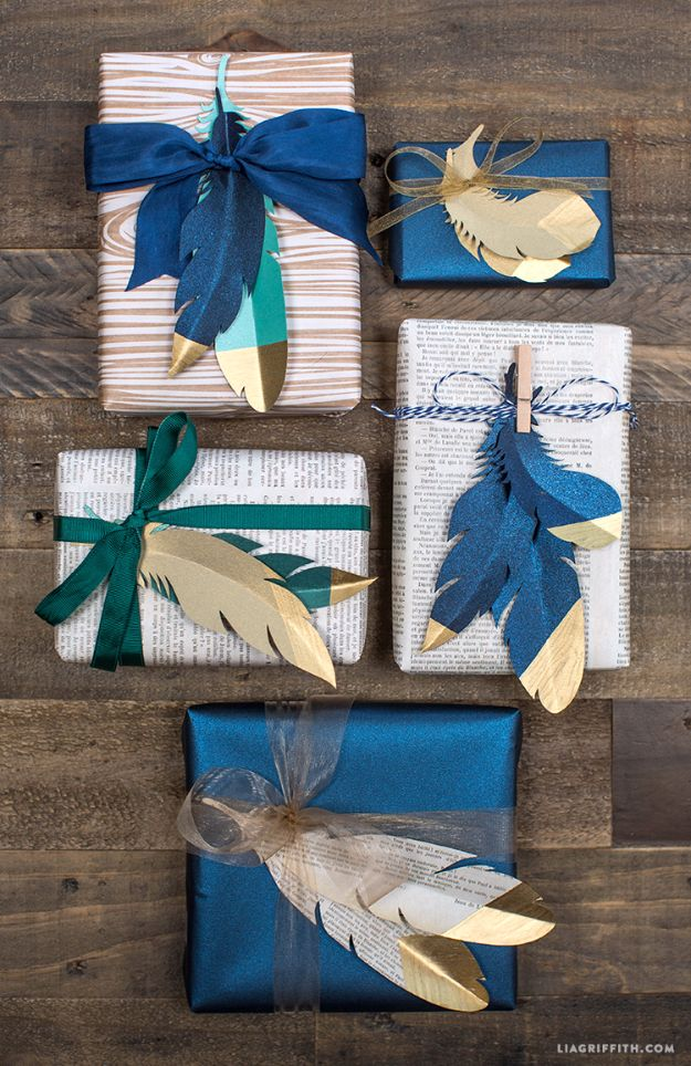 Cool Gift Wrapping Ideas - Gold Tipped Paper Feathers - Creative Ways To Wrap Presents on A Budget - Best Christmas Gift Wrap Ideas - How To Make Gift Bags, Reuse Wrapping Paper, Make Bows and Tags - Cute and Easy Ideas for Wrapping Gifts for the Holidays - Step by Step Instructions and Photo Tutorials