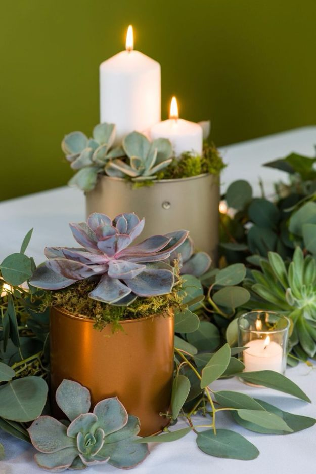DIY Wedding Decor - Greenery Table Garland - Easy and Cheap Project Ideas with Things Found in Dollar Stores - Simple and Creative Backdrops for Receptions On A Budget - Rustic, Elegant, and Vintage Paper Ideas for Centerpieces, and Vases