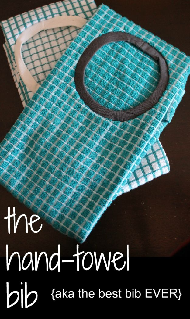 DIY Ideas With Old Towels - Hand Towel Bib - Cool Crafts To Make With An Old Towel - Cheap Do It Yourself Gifts and Home Decor on A Budget budget craft ideas #crafts #diy