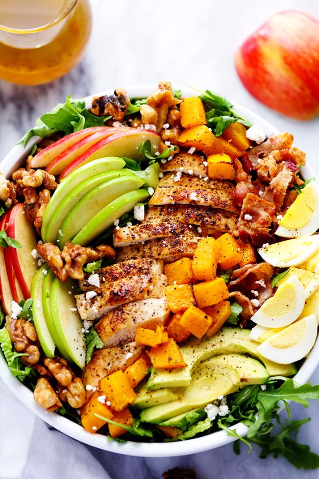 Best Fall Recipes and Ideas for Dinner - Harvest Cobb Chicken Salad With Honey Apple Cider Vinaigrette - Quick Meals With Chicken, Beef and Fish, Easy Crockpot Meals and Make Ahead Soups and Dinners - Healthy Dinner Recipes and Fast Last Minute Foods With Spinach, Vegetables, Butternut Squash, Pumpkin and Nuts