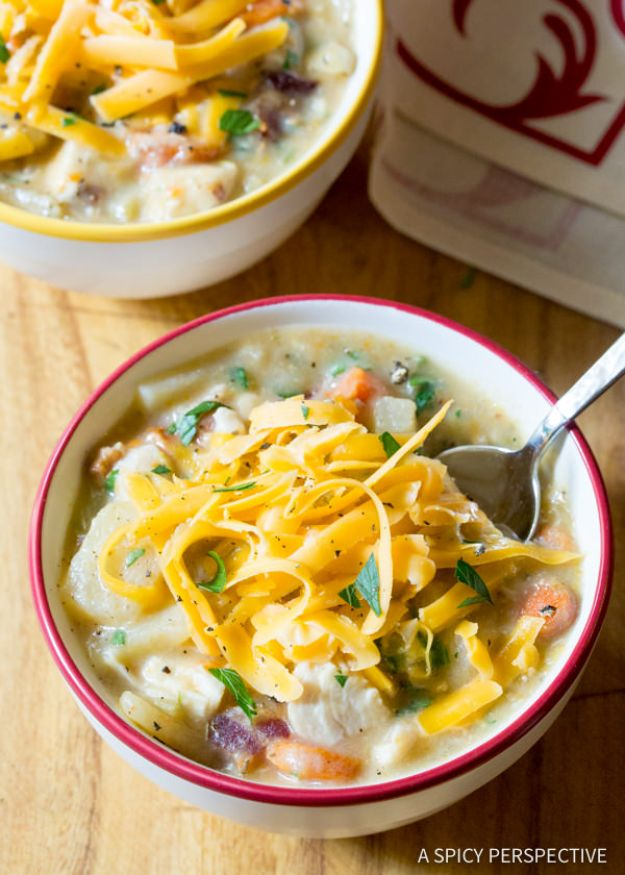 Potato Recipes - Healthy Slow Cooker Chicken Potato Soup - Easy, Quick and Healthy Potato Recipes - How To Make Roasted, In Oven, Fried, Mashed and Red Potatoes - Easy Potato Side Dishes and Soup Recipe Ideas for Dinner, Breakfast, Lunch, Appetizer and Snack http://diyjoy.com/potato-recipes