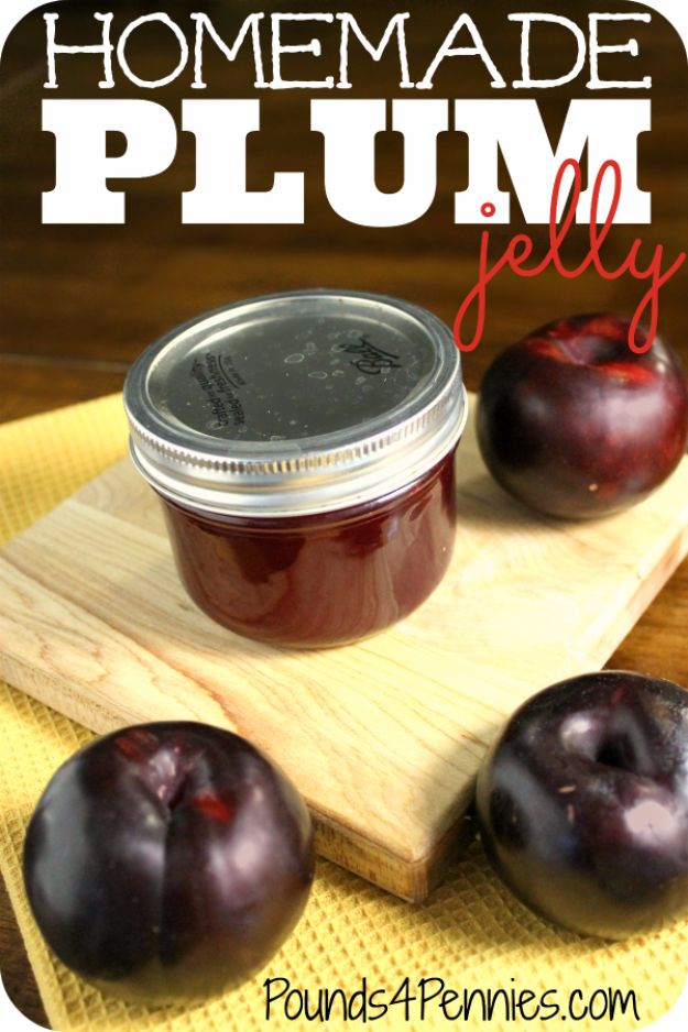 Best Jam and Jelly Recipes - Homemade Plum Jelly - Homemade Recipe Ideas For Canning - Easy and Unique Jams and Jellies Made With Strawberry, Raspberry, Blackberry, Peach and Fruit - Healthy, Sugar Free, No Pectin, Small Batch, Savory and Freezer Recipes http://diyjoy.com/jam-jelly-recipes