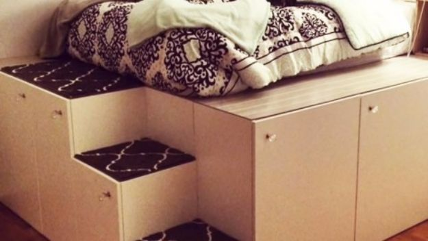 DIY Platform Beds - IKEA Hack Platform Bed - Easy Do It Yourself Bed Projects - Step by Step Tutorials for Bedroom Furniture - Learn How To Make Twin, Full, King and Queen Size Platforms - With Headboard, Storage, Drawers, Made from Pallets - Cheap Ideas You Can Make on a Budget http://diyjoy.com/diy-platform-beds