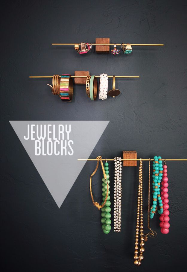 DIY Jewelry Ideas - Jewelry Blocks - How To Make the Coolest Jewelry Ideas For Kids and Teens - Homemade Wooden and Plastic Jewelry Box Plans - Easy Cardboard Gift Ideas - Cheap Wall Makeover and Organizer Projects With Drawers Men http://diyjoy.com/diy-jewelry-boxes-storage