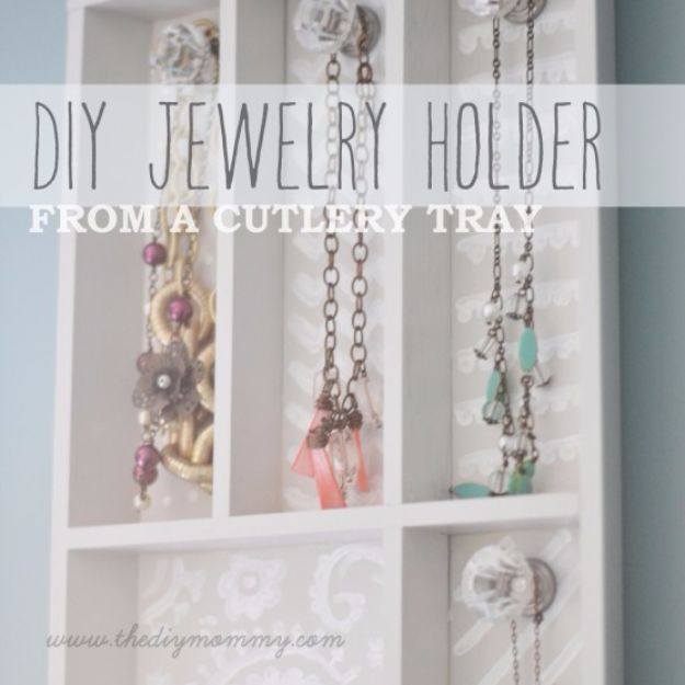 DIY Jewelry Ideas - Jewelry Holder from a Cutlery Tray - How To Make the Coolest Jewelry Ideas For Kids and Teens - Homemade Wooden and Plastic Jewelry Box Plans - Easy Cardboard Gift Ideas - Cheap Wall Makeover and Organizer Projects With Drawers Men http://diyjoy.com/diy-jewelry-boxes-storage