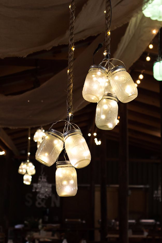 DIY Wedding Decor - LED Mason Jar Lights - Easy and Cheap Project Ideas with Things Found in Dollar Stores - Simple and Creative Backdrops for Receptions On A Budget - Rustic, Elegant, and Vintage Paper Ideas for Centerpieces, and Vases http://diyjoy.com/cheap-wedding-decor-ideas