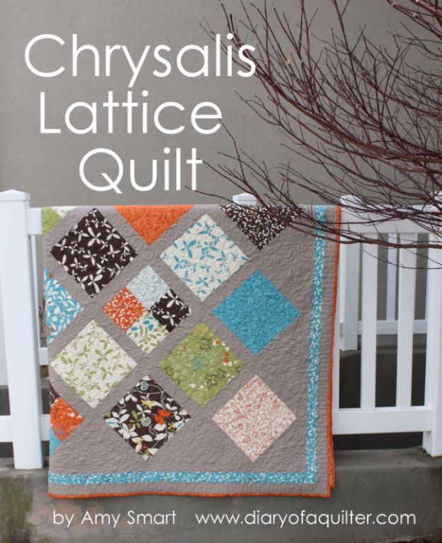 Best Quilts to Make This Weekend - Large Chrysalis Lattice Quilt - Free Quilt Patterns and Quilting Tutorials - Quilting for Beginners and Sewing Ideas - DIY Baby Quilts, Printables, New and Easy Modern Quilts, Jelly Roll, Quilt Squares, Fat Quarters and Scrap Ideas #diy #quilting #sewing