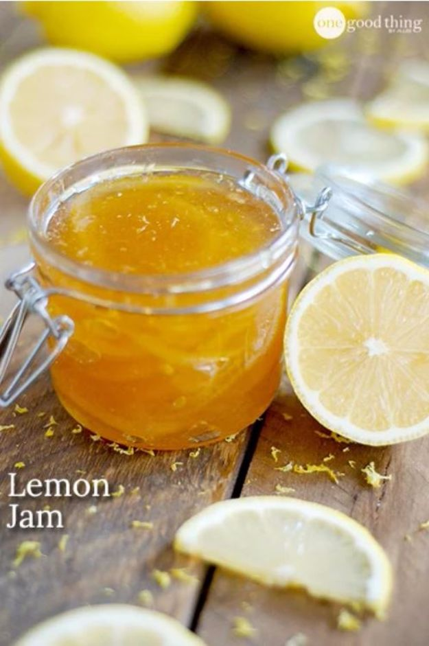 Best Jam and Jelly Recipes - Lemon Jam - Homemade Recipe Ideas For Canning - Easy and Unique Jams and Jellies Made With Strawberry, Raspberry, Blackberry, Peach and Fruit - Healthy, Sugar Free, No Pectin, Small Batch, Savory and Freezer Recipes http://diyjoy.com/jam-jelly-recipes