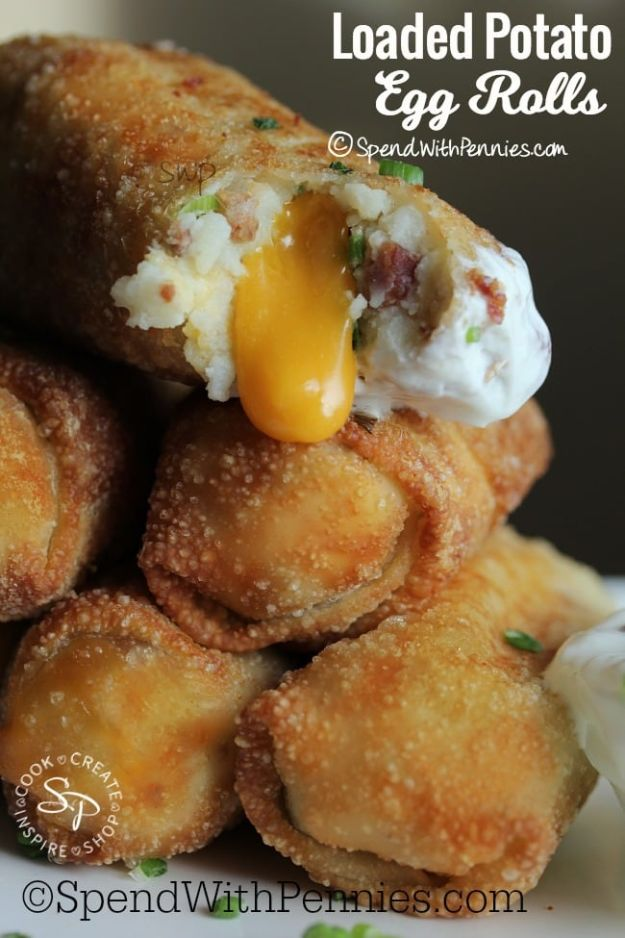 Potato Recipes - Loaded Potato Egg Rolls - Easy, Quick and Healthy Potato Recipes - How To Make Roasted, In Oven, Fried, Mashed and Red Potatoes - Easy Potato Side Dishes and Soup Recipe Ideas for Dinner, Breakfast, Lunch, Appetizer and Snack http://diyjoy.com/potato-recipes