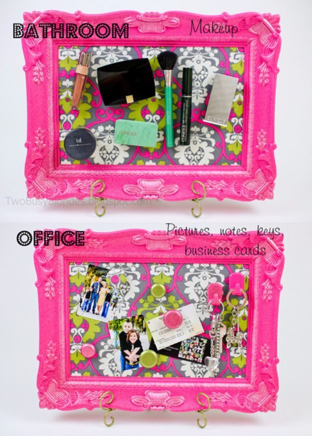 DIY Ideas With Old Picture Frames - Magnetic Picture Frame - Cool Crafts To Make With A Repurposed Picture Frame - Cheap Do It Yourself Gifts and Home Decor on A Budget - Fun Ideas for Decorating Your House and Room http://diyjoy.com/diy-ideas-picture-frames