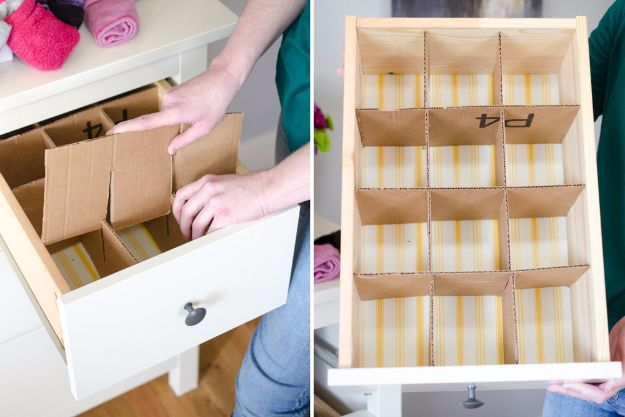DIY Ideas With Cardboard - Make Drawer Dividers - How To Make Room Decor Crafts for Kids - Easy and Crafty Storage Ideas For Room - Toilet Paper Roll Projects Tutorials - Fun Furniture Ideas with Cardboard - Cheap, Quick and Easy Wall Decorations http://diyjoy.com/diy-ideas-cardboard
