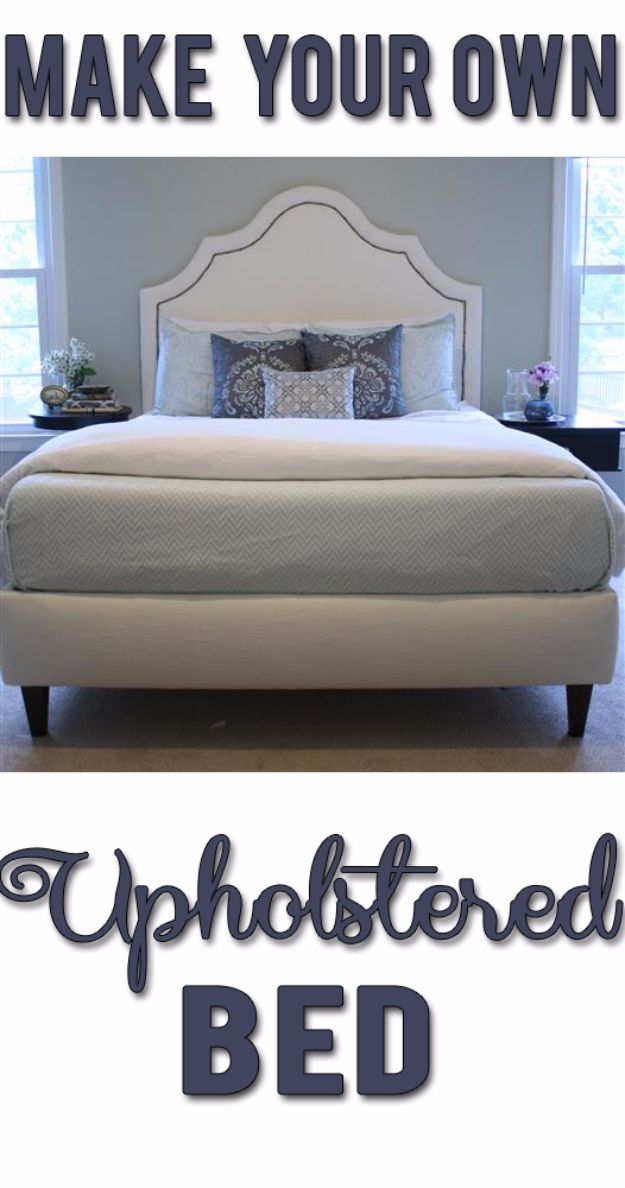 DIY Platform Beds - Make Your Own Upholstered Bed - Easy Do It Yourself Bed Projects - Step by Step Tutorials for Bedroom Furniture - Learn How To Make Twin, Full, King and Queen Size Platforms - With Headboard, Storage, Drawers, Made from Pallets - Cheap Ideas You Can Make on a Budget http://diyjoy.com/diy-platform-beds