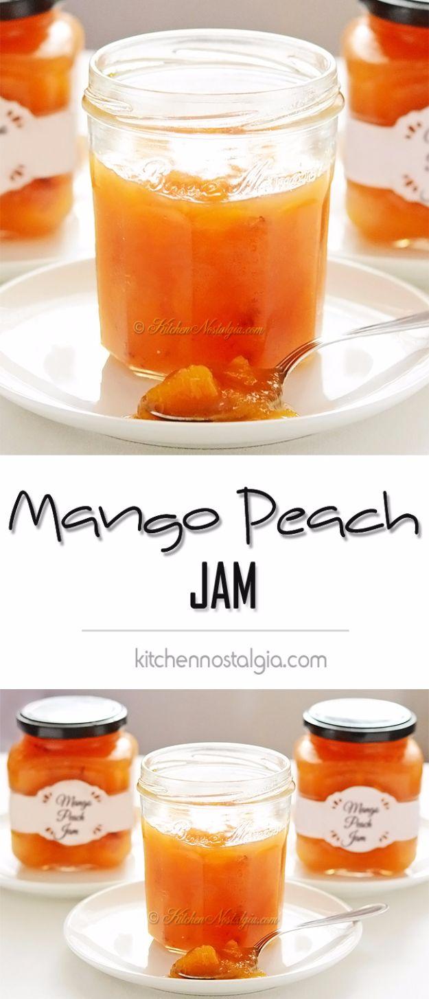 Best Jam and Jelly Recipes - Mango Peach Jam - Homemade Recipe Ideas For Canning - Easy and Unique Jams and Jellies Made With Strawberry, Raspberry, Blackberry, Peach and Fruit - Healthy, Sugar Free, No Pectin, Small Batch, Savory and Freezer Recipes http://diyjoy.com/jam-jelly-recipes