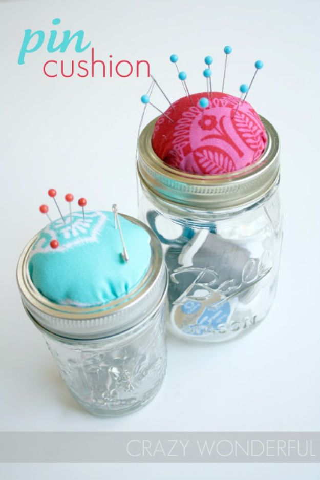Cheap DIY Gifts and Inexpensive Homemade Christmas Gift Ideas for People on A Budget - Mason Jar Pin Cushion - To Make These Cool Presents Instead of Buying for the Holidays - Easy and Low Cost Gifts for Mom, Dad, Friends and Family - Quick Dollar Store Crafts and Projects for Xmas Gift Giving Parties - Step by Step Tutorials and Instructions http://diyjoy.com/cheap-holiday-gift-ideas-to-make