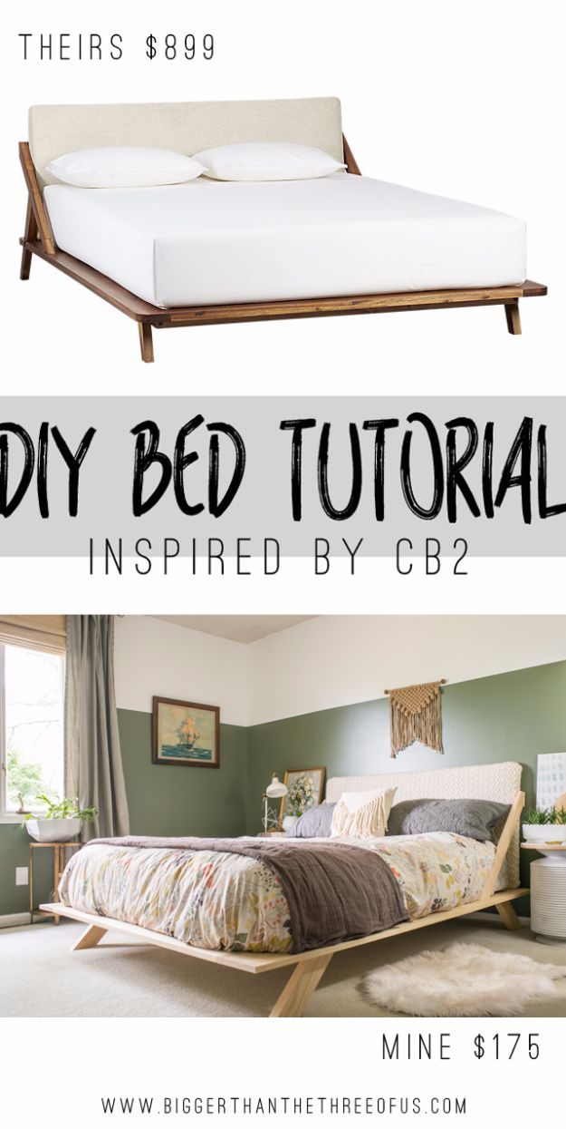 DIY Platform Beds - Mid Century Inspired DIY Bed - Easy Do It Yourself Bed Projects - Step by Step Tutorials for Bedroom Furniture - Learn How To Make Twin, Full, King and Queen Size Platforms - With Headboard, Storage, Drawers, Made from Pallets - Cheap Ideas You Can Make on a Budget http://diyjoy.com/diy-platform-beds