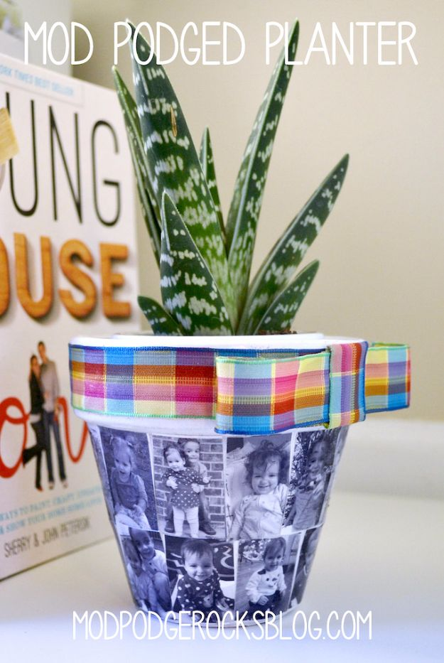 Cool Gifts to Make For Mom - Mod Podged Planter - DIY Gift Ideas and Christmas Presents for Your Mother, Mother-In-Law, Grandma, Stepmom - Creative , Holiday Crafts and Cheap DIY Gifts for The Holidays - Thoughtful Homemade Spa Day Gifts, Creative Wall Art, Special Ideas for Her - Easy Xmas Gifts to Make With Step by Step Tutorials and Instructions #diygifts #mom