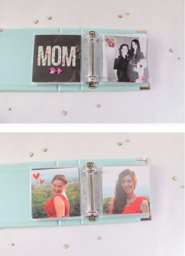 Cool Gifts to Make For Mom - Mom Mini Album - DIY Gift Ideas and Christmas Presents for Your Mother, Mother-In-Law, Grandma, Stepmom - Creative , Holiday Crafts and Cheap DIY Gifts for The Holidays - Thoughtful Homemade Spa Day Gifts, Creative Wall Art, Special Ideas for Her - Easy Xmas Gifts to Make With Step by Step Tutorials and Instructions #diygifts #mom