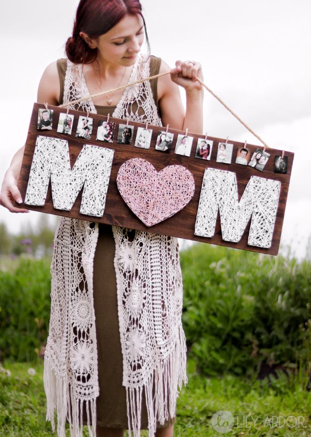 Cool Gifts to Make For Mom - Mom String Art With Pictures - DIY Gift Ideas and Christmas Presents for Your Mother, Mother-In-Law, Grandma, Stepmom - Creative , Holiday Crafts and Cheap DIY Gifts for The Holidays - Thoughtful Homemade Spa Day Gifts, Creative Wall Art, Special Ideas for Her - Easy Xmas Gifts to Make With Step by Step Tutorials and Instructions #diygifts #mom