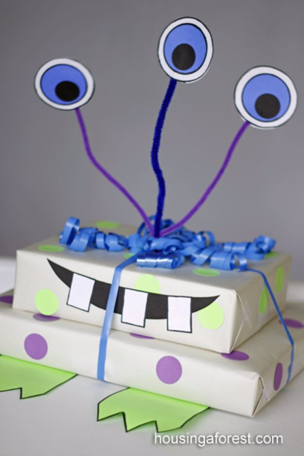 Cool Gift Wrapping Ideas - Monster Gift Wrapping - Creative Ways To Wrap Presents on A Budget - Best Christmas Gift Wrap Ideas - How To Make Gift Bags, Reuse Wrapping Paper, Make Bows and Tags - Cute and Easy Ideas for Wrapping Gifts for the Holidays - Step by Step Instructions and Photo Tutorials