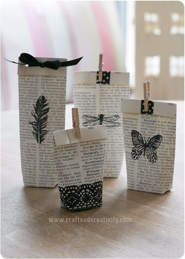 Cool Gift Wrapping Ideas - Old Books Gift Bags - Creative Ways To Wrap Presents on A Budget - Best Christmas Gift Wrap Ideas - How To Make Gift Bags, Reuse Wrapping Paper, Make Bows and Tags - Cute and Easy Ideas for Wrapping Gifts for the Holidays - Step by Step Instructions and Photo Tutorials
