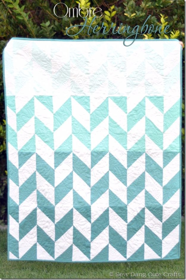 Best Quilts to Make This Weekend - Ombre Herringbone Quilt - Free Quilt Patterns and Quilting Tutorials - Quilting for Beginners and Sewing Ideas - DIY Baby Quilts, Printables, New and Easy Modern Quilts, Jelly Roll, Quilt Squares, Fat Quarters and Scrap Ideas #diy #quilting #sewing