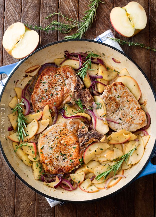 Best Fall Recipes and Ideas for Dinner - One Pan Pork Chops With Apples And Onions - Quick Meals With Chicken, Beef and Fish, Easy Crockpot Meals and Make Ahead Soups and Dinners - Healthy Dinner Recipes and Fast Last Minute Foods With Spinach, Vegetables, Butternut Squash, Pumpkin and Nuts